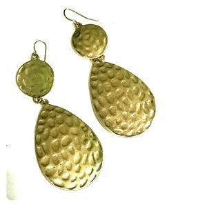 Gold Hammered Statement Earrings