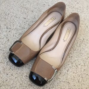 Two-tone Prada Patent Block Heel Pumps