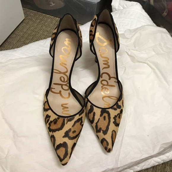 902df8bcdf84 Sam Edelman leopard print pony hair heels 8.5