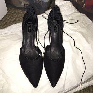 Topshop ankle tie heels black suede size 39