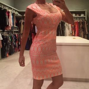 Neon Coral and White Bodycon Dress - Large