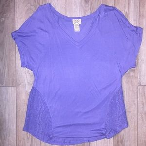 Tops - Eyelash Couture purple V neck T shirt with lace