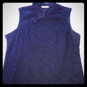 Black Asian style sleeveless lace shirt