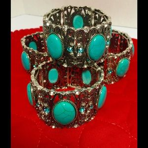 CLOSET CLEARANCE! Set of 4: Turquoise Silver Cuff