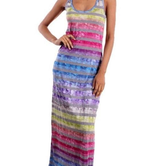 Dresses Pastel Rainbow Tie Dye Racerback Maxi Dress Poshmark