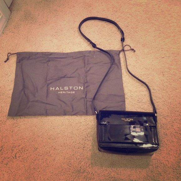 bf3eae2cf2 Halston heritage black patent leather Brooke bag