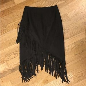 84434a5ae Express Skirts | Black Faux Suede Fringe Pencil Skirt | Poshmark