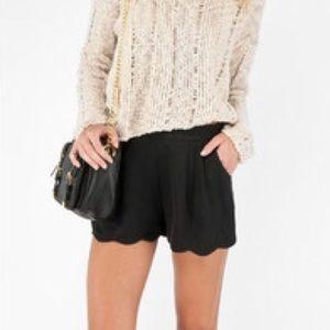 Black LUSH scallop hem high waisted shorts- small
