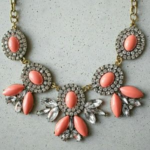 Orange coral oval flower statement necklace