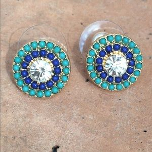 Gold Tone Blue & Turquoise Double Halo Earrings