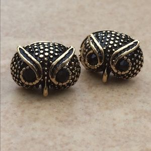 Antique Gold Tone Black Crystal Owl Stud Earrings