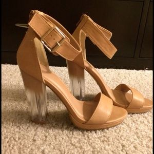 Shoes - Nude strappy clear chunky heel!