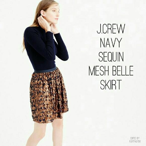 J. Crew Dresses & Skirts - *HP*{J CREW} N.W.T Navy Sequin Embellished Skirt
