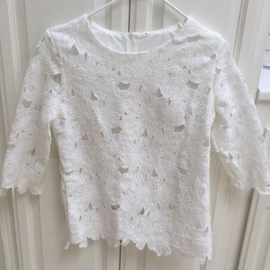 Tops - White Half Sleeve Floral Crochet Blouse
