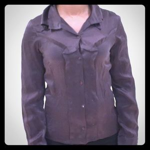 Tops - Taupe silk button down XS
