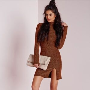 Missguided Dresses & Skirts - High Neck Bodycon Copper Dress