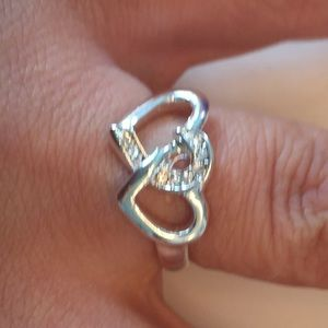 Jewelry - Silver plated double hearts ring size 8