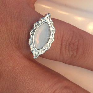 Jewelry - Silver plated white eye ring size 8