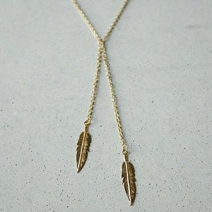Iconic Legend Jewelry - Lariat gold feather boho choker necklace charm