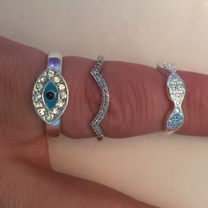 Jewelry - Silver plated 3 rings size 6 or pinky ring