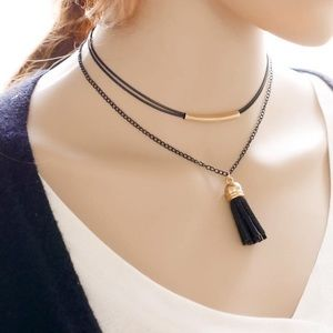 Jewelry - Black Choker With Suede Tassel Pendant