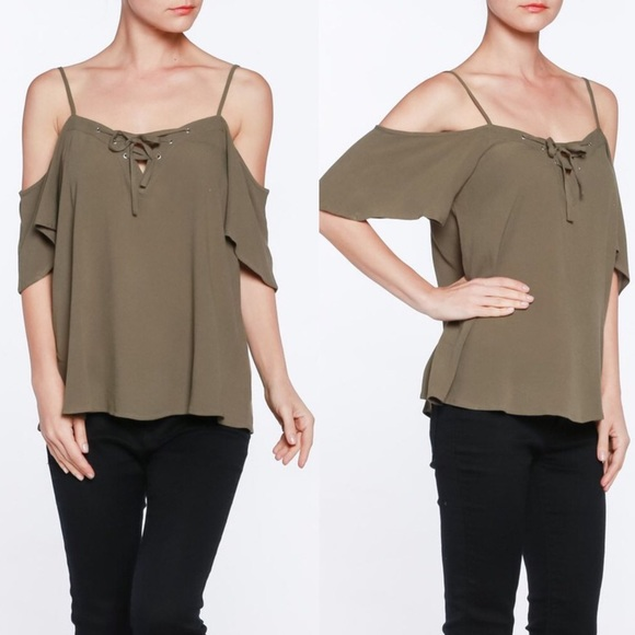 5a0287880b4849 Bellanblue Tops   Allaire Lace Up Cold Shoulder Top Olive   Poshmark