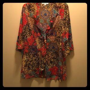 CAbi multi color kimono top