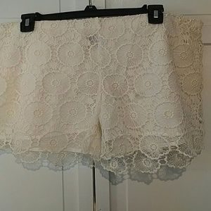 Mudpie medallion crochet shorts
