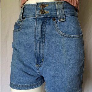 Vintage High Waist Light Wash Denim Jean Shorts