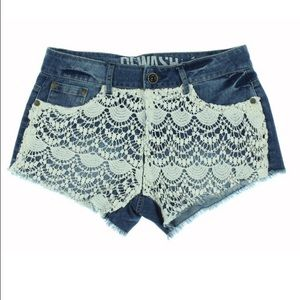 🌴ReWash Jean Shorts with Crochet Detail