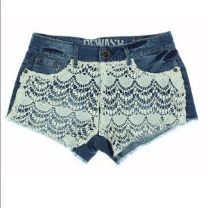 🌴ReWash Jean Shorts with Crochet Detail