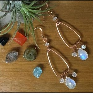 Copper moonstone long dangly earrings. Handmade