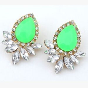Lime green statement earrings