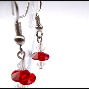 Jewelry - Dainty Red & Opalite Color Crystal Earrings
