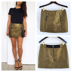 Topshop Dresses & Skirts - Top Shop Gold Jacquard Mini Skirt