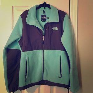 North face fleece jacket mint and dark grey