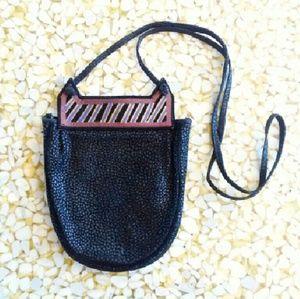 Vintage 80s Crossbody Handpainted Suede Purse Bag