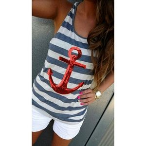 Blue and White Stripe Tank Top