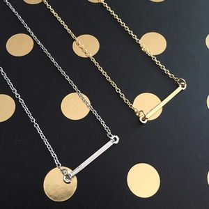 silver or gold dainty minimalist bar necklace new