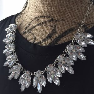 Silver crystal jewelry statement collar necklace
