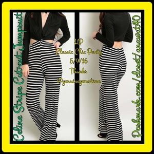 Pants - HP Celine Stripe Cut-out Jumpsuit