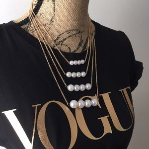 Gold pearl statement collar necklace jewelry