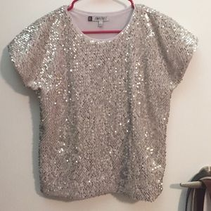 JLo Tops - Silver sequin boxy top