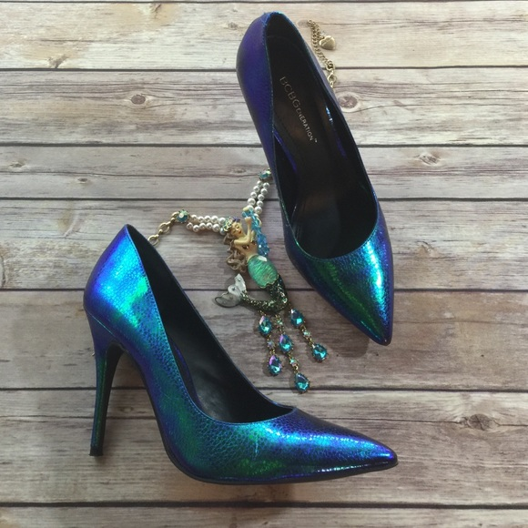573661abd44 BCBG blue Iridescent Mermaid Metallic Heels
