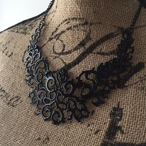 New Black enamel scroll collar necklace jewelry