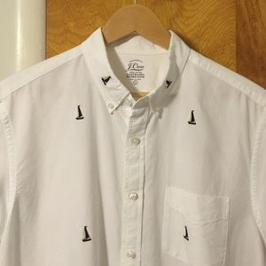 J. Crew Shirts - Men's Short-Sleeve Oxford Embroidered Shirt