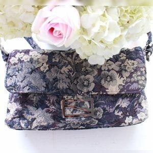 Vintage tapestry pouchette purse lavender floral