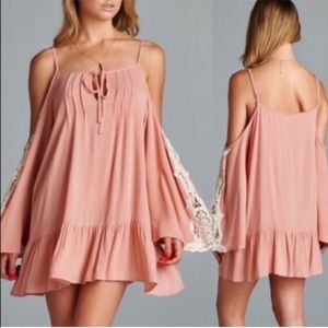 The TIFFANIE bell sleeve lace tunic dress- PINK