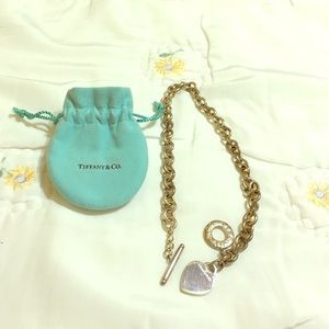 Tiffany & Co. Heart charm toggle necklace silver