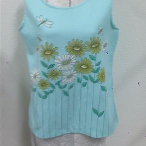 Retro Blue Tank with Daisy Print